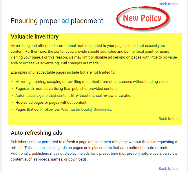 Google Adsense New Policy
