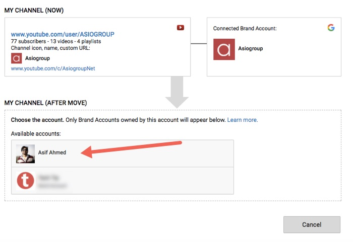 How to Move A YouTube Channel from One Google Account to Another